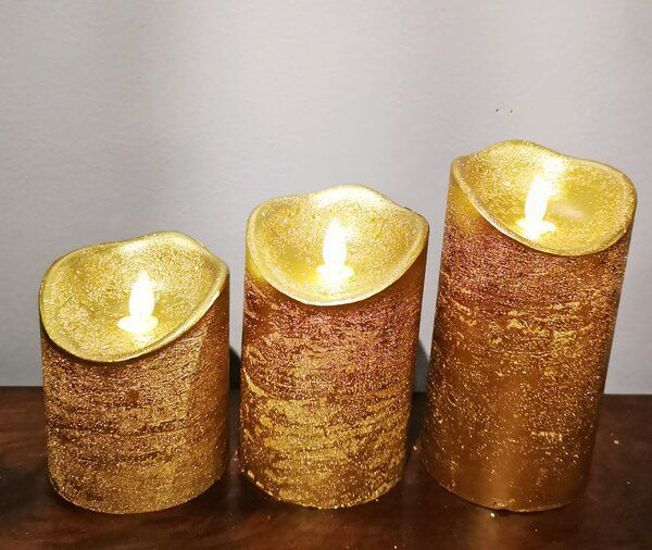 3 Piece LED Unscented Pillar Candle Set