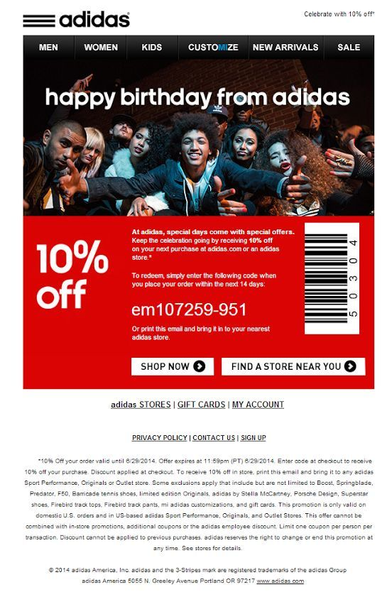 sala acumular Unirse  Adidas birthday email - Email Newsletter Examples   Birthday email,  Printable coupons, Birthday