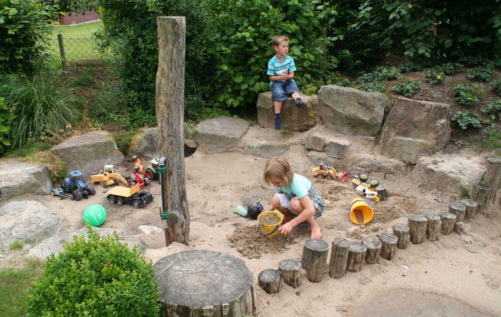 Cute Der Sandbereich liegt links von der Rutsche Hier wird balanciert gebaut und gebaggert u Gartenideen KinderNaturnaher GartenKinder