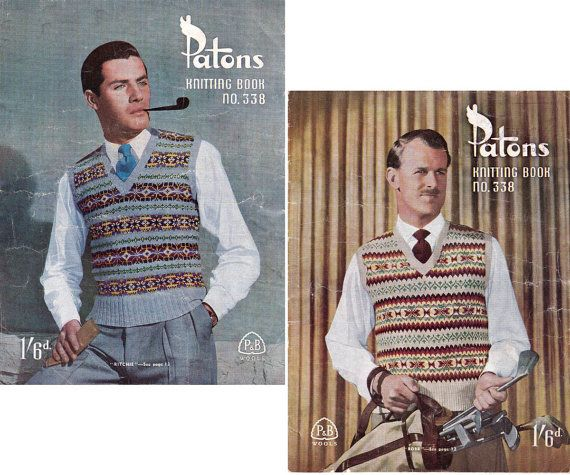 1940s Vintage Mens Knitting Patterns Book Patons 338 Fair isle ...