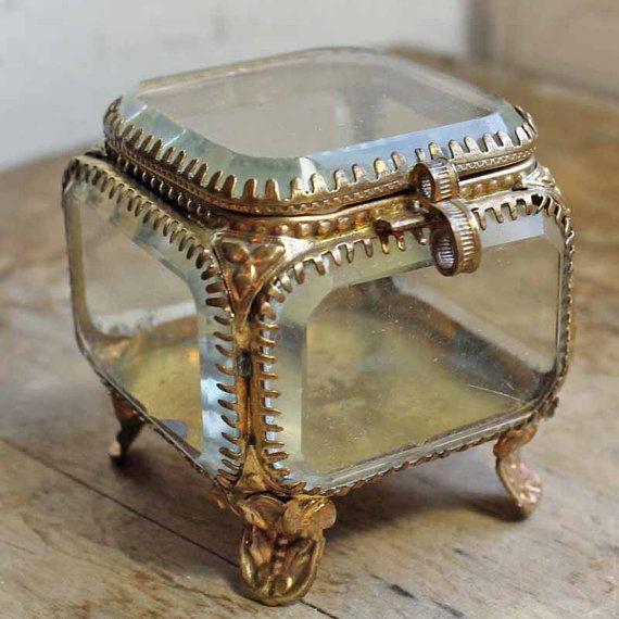 Antique jewelry box Glass French jewelry glass box Vintage glass