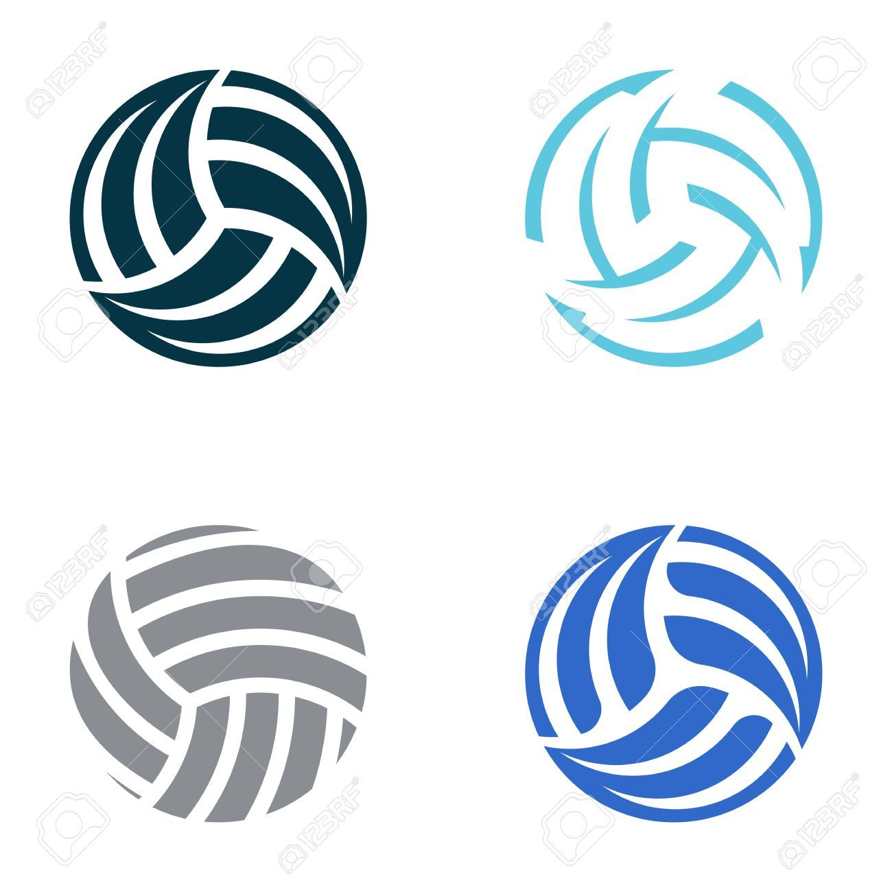 Set Of Four Volleyball Ball Abstract Icons Volleyball Clipart Volleyball Drawing Volleyball Tattoos