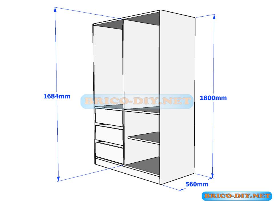 Mira estos planos para ropero guardarropa con gavetas en for Planos de muebles de melamina roperos