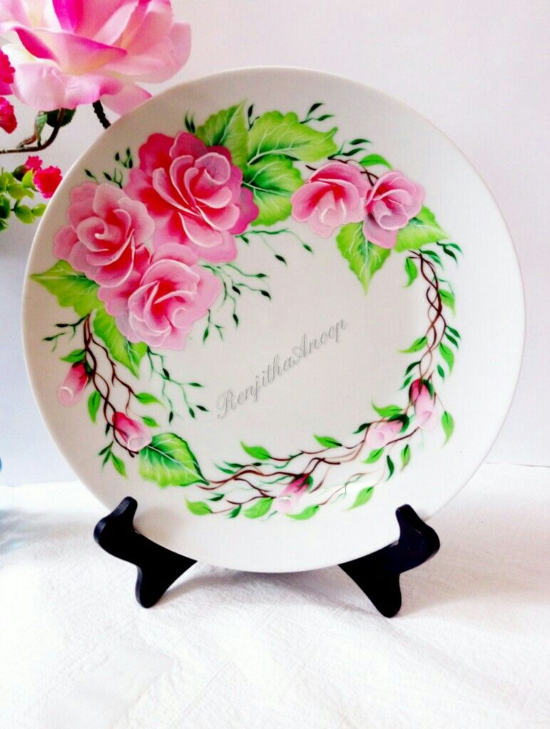 Upcoming Tutorial How To Paint On Ceramic Plate Easy Design Using Multi Surface Acrylics By Decoart Dec Decorative Painting Artwork Painting Ceramic Plates