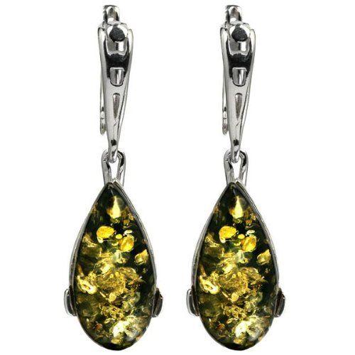 Sterling Silver Baltic Green Amber Leverback Earrings