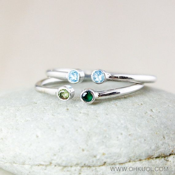 one stackable birthstones stacking sterling birthstone mothers couples necklace silver products ring dual personalized
