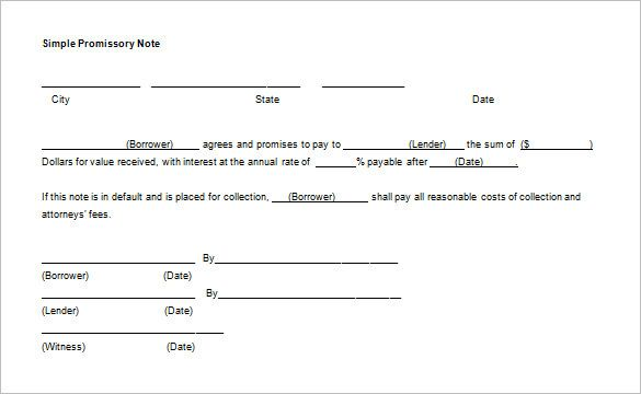 Simple Promissory Note Notes Template Daily Schedule Template Daily Planner Template