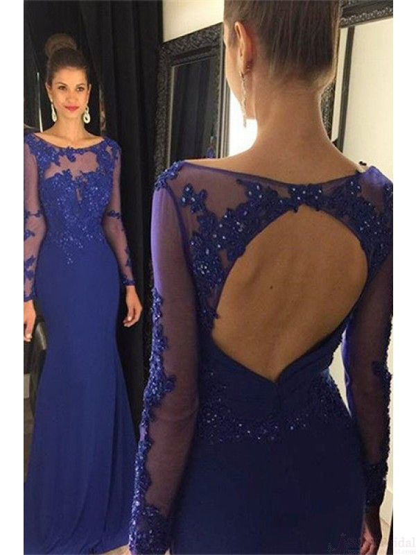 Elegant Blue Long Sleeves Beading Long Prom Dresses Evening Dresses