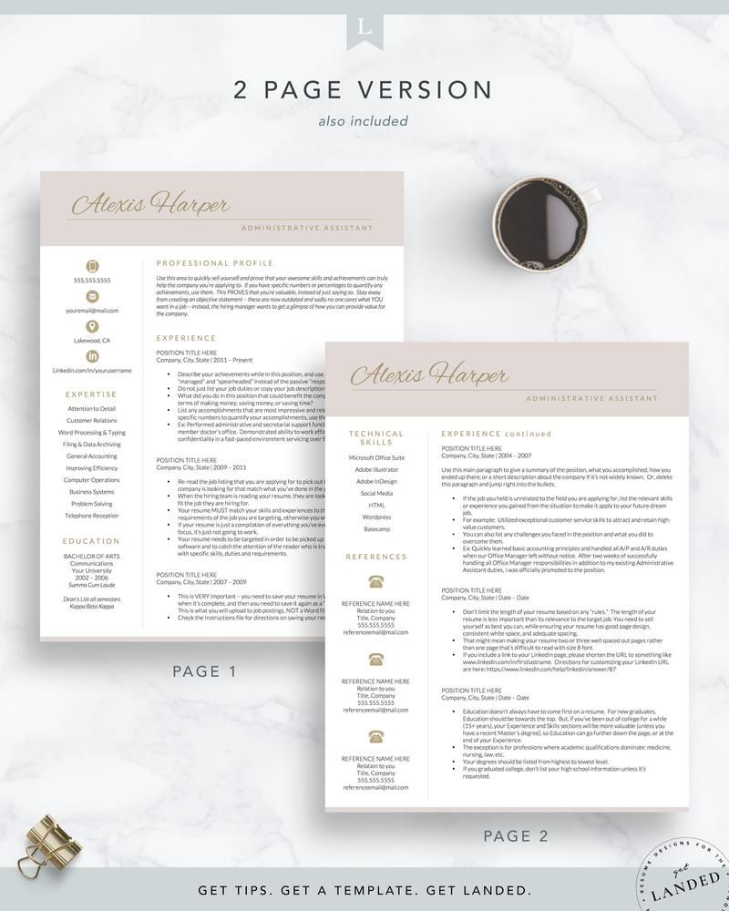 Administrative assistant resume template the alexis