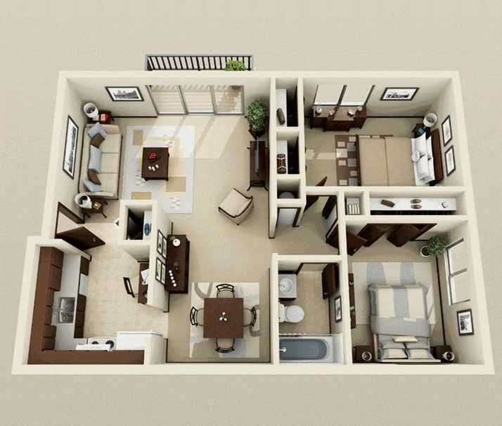 50 Plans 3D D'Appartement Avec 2 Chambres | 3D, Plans Et Appartements