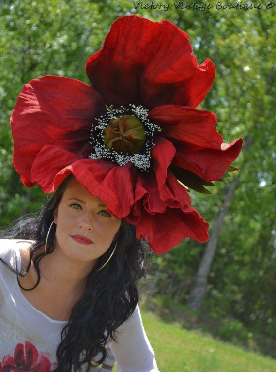 Giant flower headdress POPPYhatfascinatorfloral by bwilkerson74 5cbe0b08856