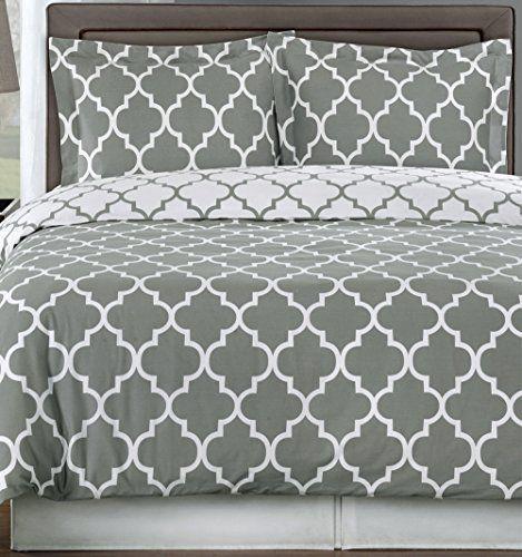 Contemporary Modern Trellis Gray Grey White Bedding Duvet Cover