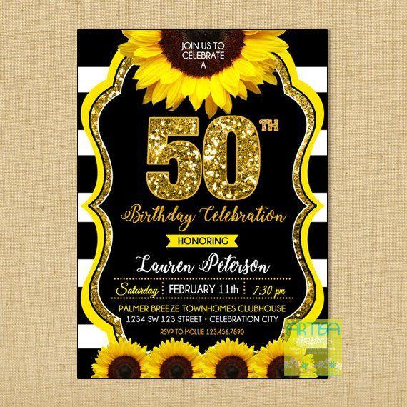 50 Invit Invitación Cumpleaños Girasol 50 Aniversario Oro