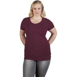 Photo of Slim-fit V-neck T-shirt long plus size women, Burgundy Promodoro