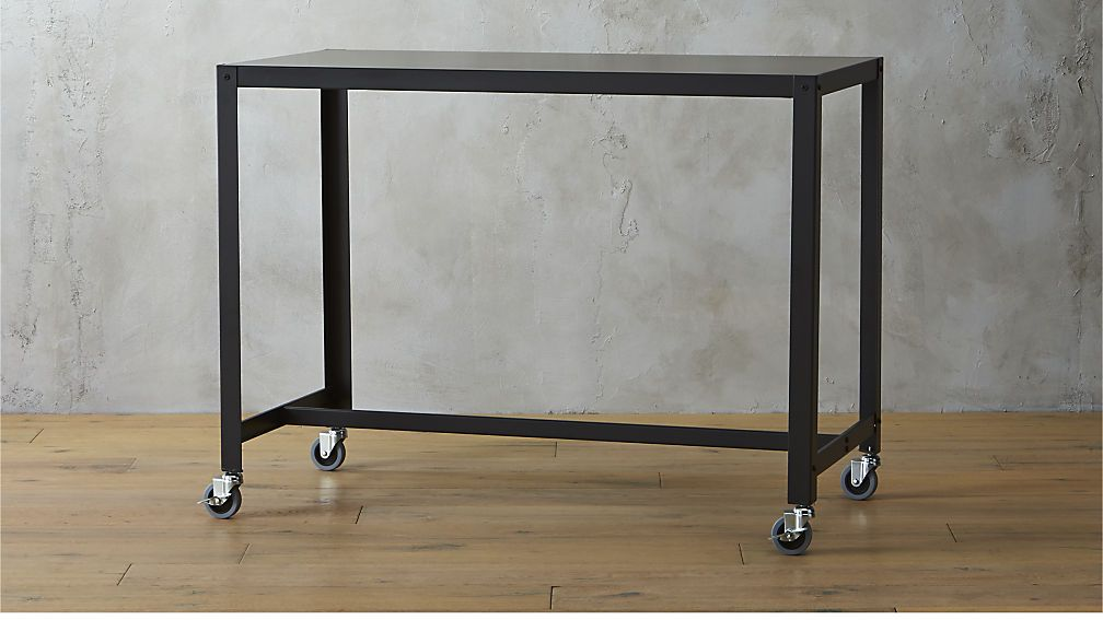 Go Cart Carbon Rolling Counter Table Stand Up Desk Cb2 36 Tall 152 Good Contender For Kitchen Nook