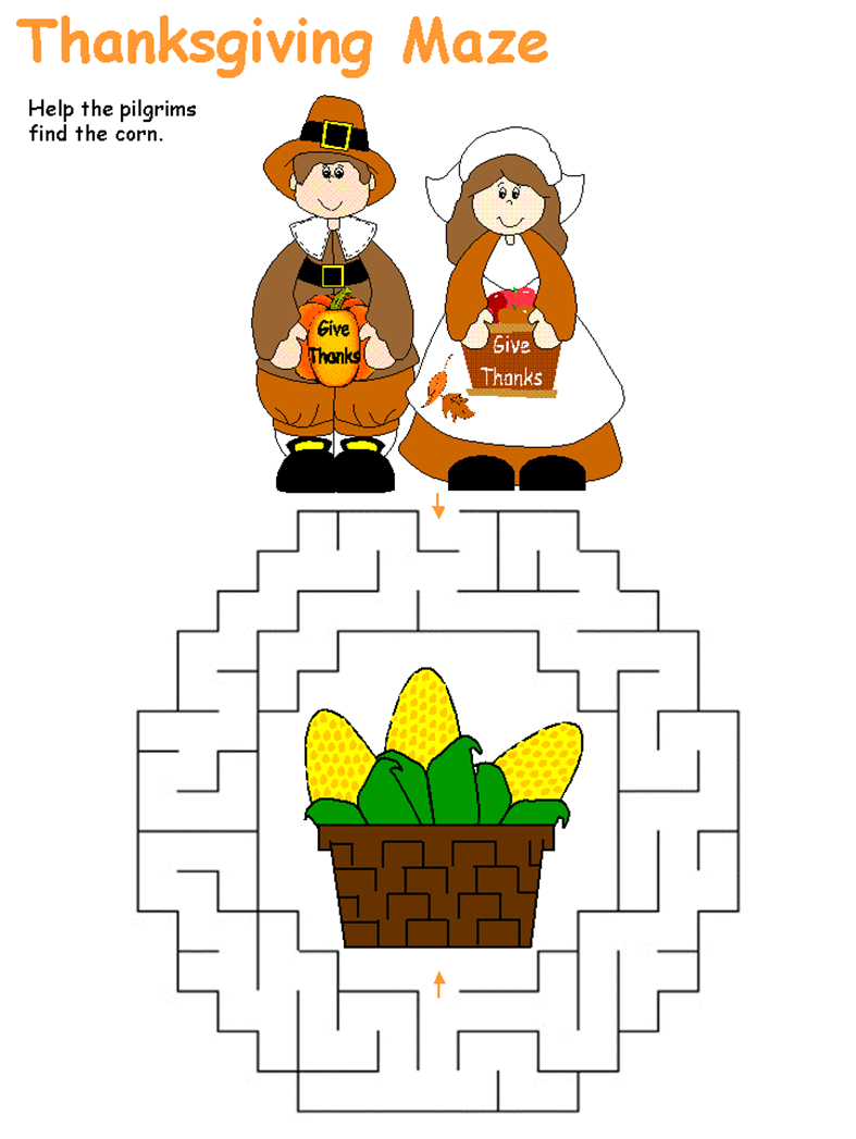 Thanksgiving Maze page   Childrens Crafts, Puzzles, Learning ...
