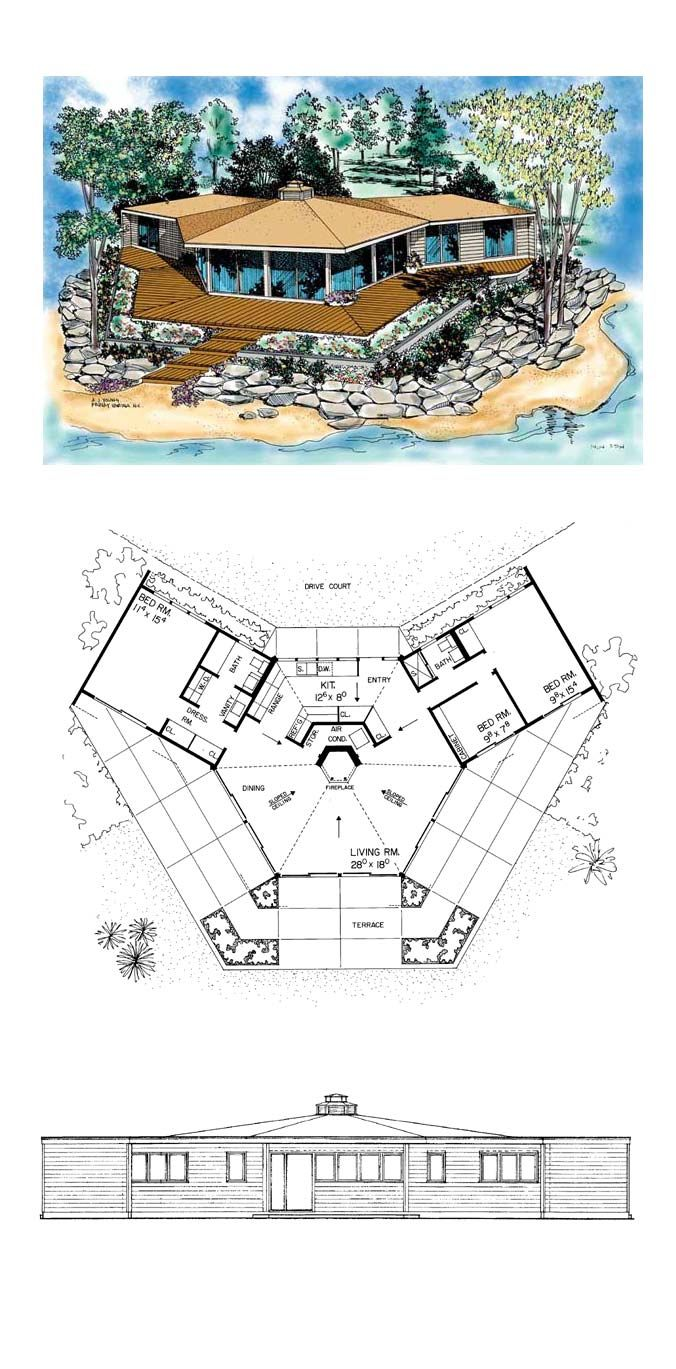 One Story Style House Plan 95001 With 3 Bed 2 Bath Octagon House Beach House Floor Plans Round House Plans