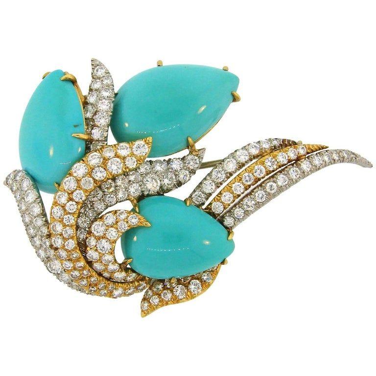 Photo of David Webb Turquoise Diamond Gold Platinum Brooch Pin Clip Pendant
