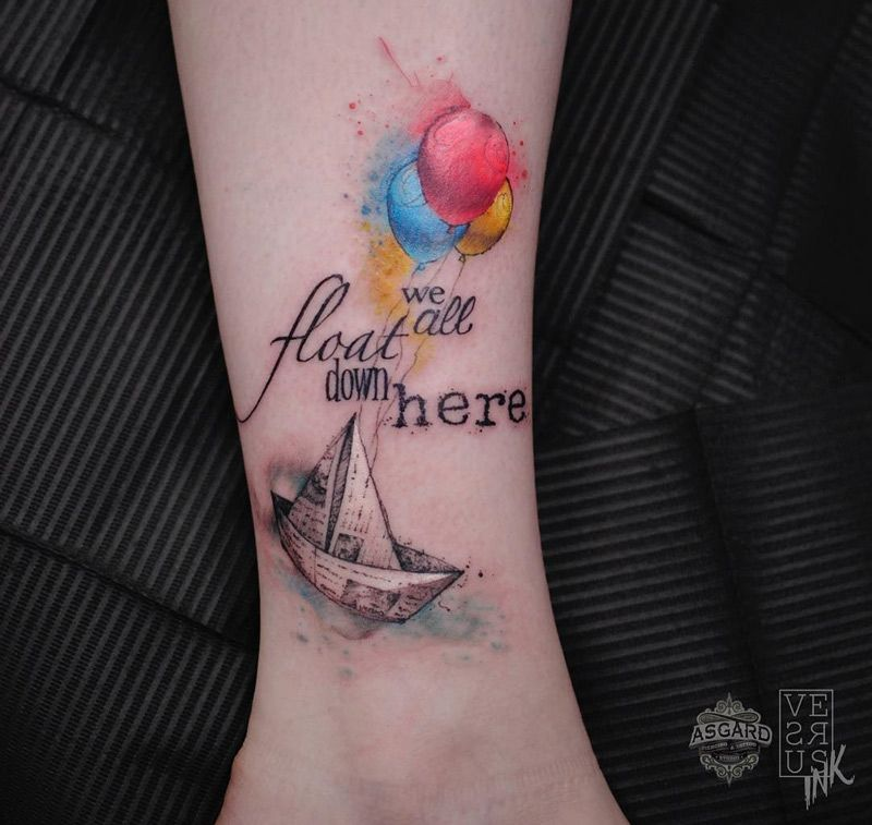 Stephen King It We All Float Down Here Tattoo Ideas Movie Tattoos Pennywise Tattoo Ankle Tattoo Designs