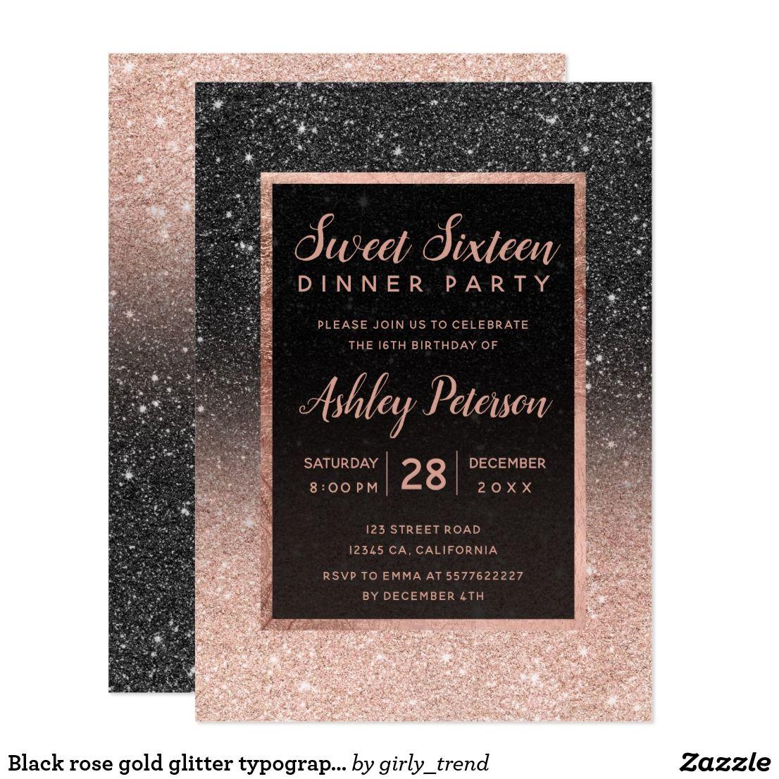 black rose gold glitter typography sweet 16 invitation sweet