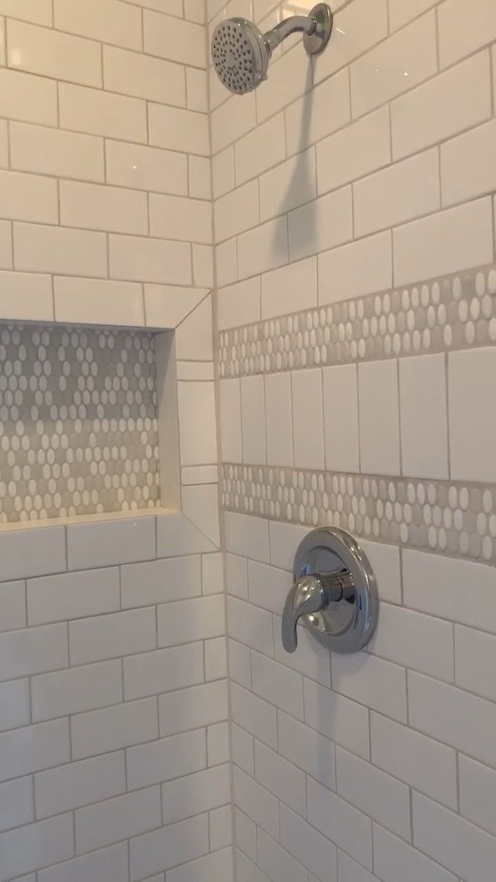 Subway Tile Shower Custom Niche  White subway tile with custom niche designed and installed by Latitude 33 Design and Construction # #custom #niche #Shower #Subway #tile