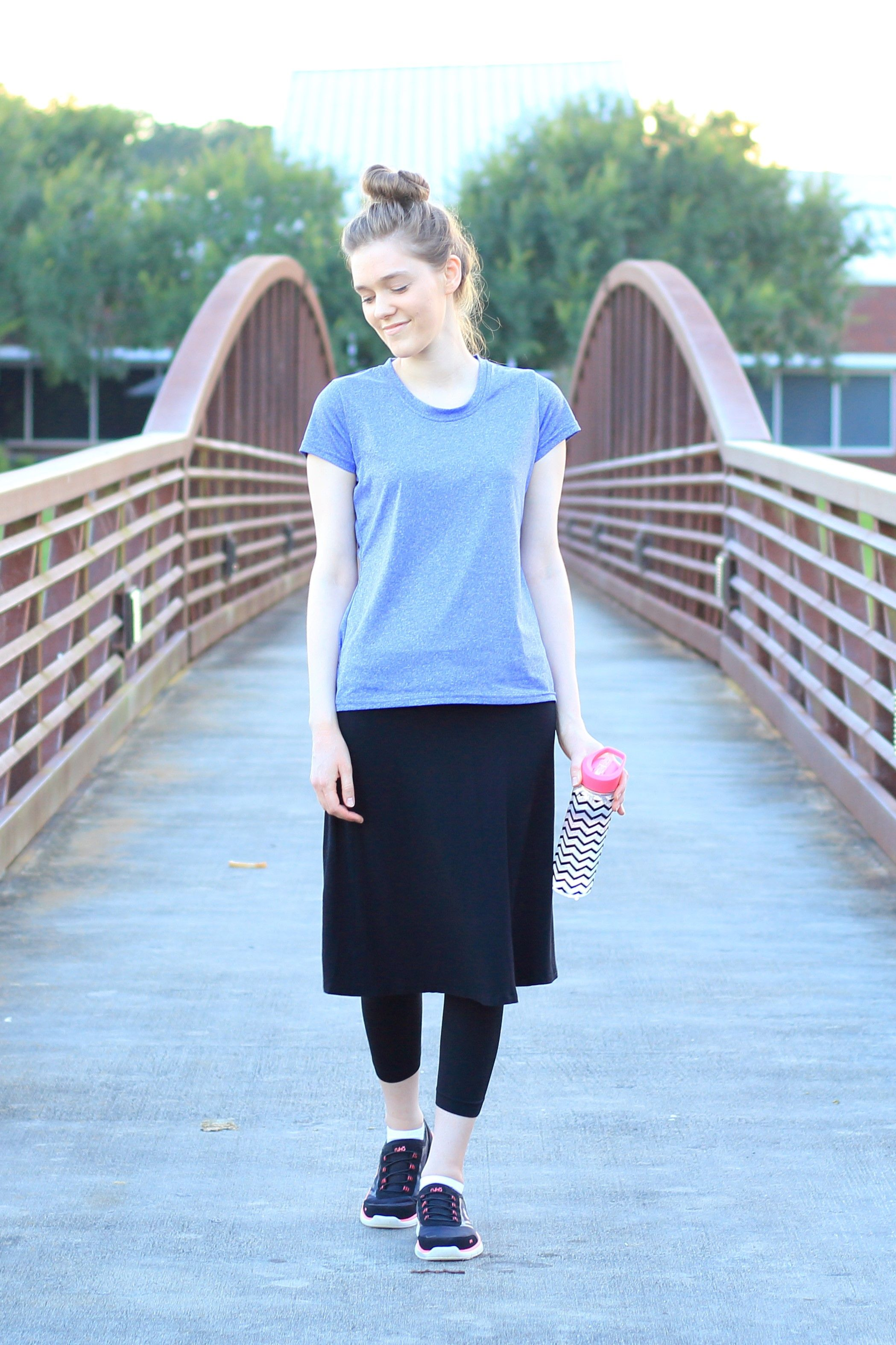 1f0d6ff9c825 Modest Workout Outfit Idea for Women  Purple Athletic Shirt  Black Skirt  Leggings  Tennis  Shoes  Activewear  Fitness  Spring Summer  Comfy  Easy  Simple