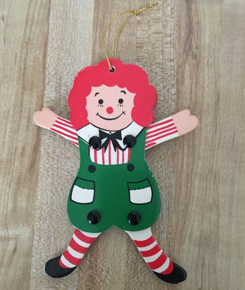 Vintage Raggedy Andy Movable Arms Legs Christmas Ornament RARE ...