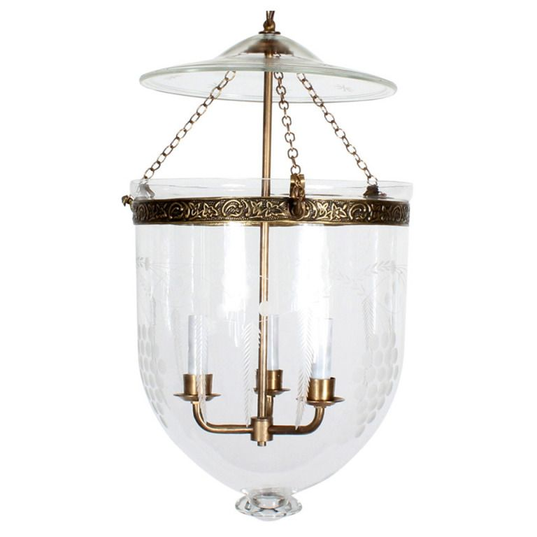 Etched Glass Bell Jar Hurricane Pendant Light Or Lantern From A