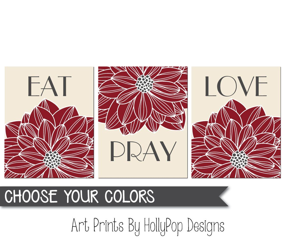 Eat pray love wall art dining room wall decor kitchen art print