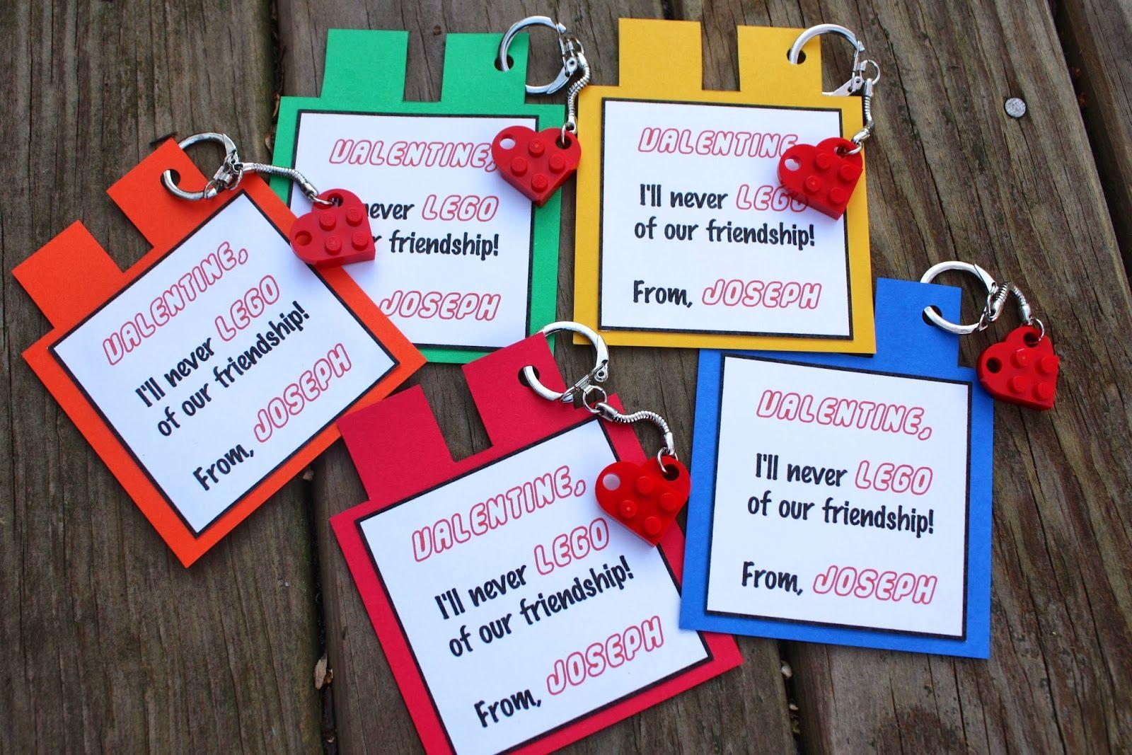 alton boys: homemade Lego valentine cards with Lego heart keychains
