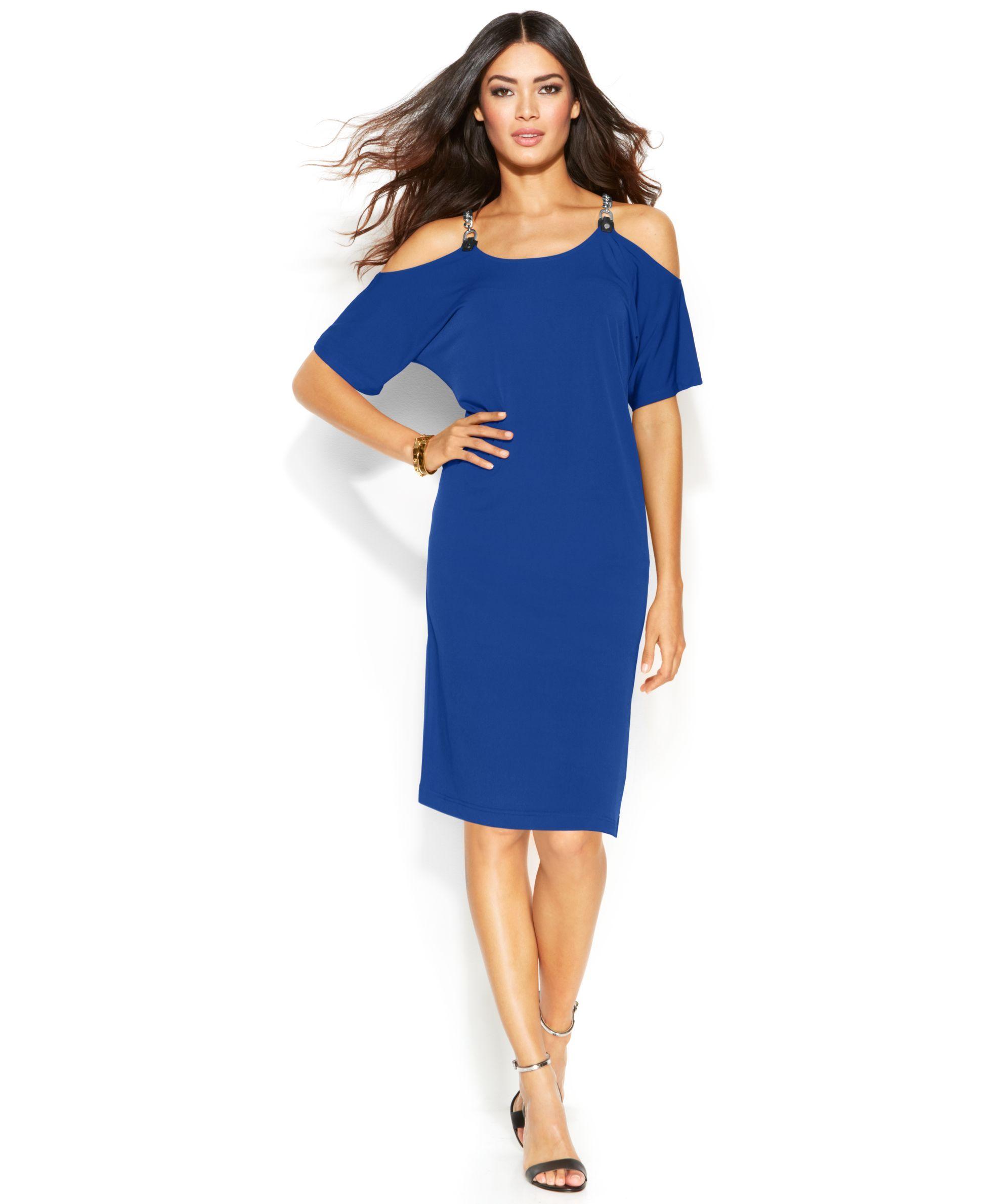 365f9f6936d Michael Michael Kors Petite Cold-Shoulder Hardware Dress