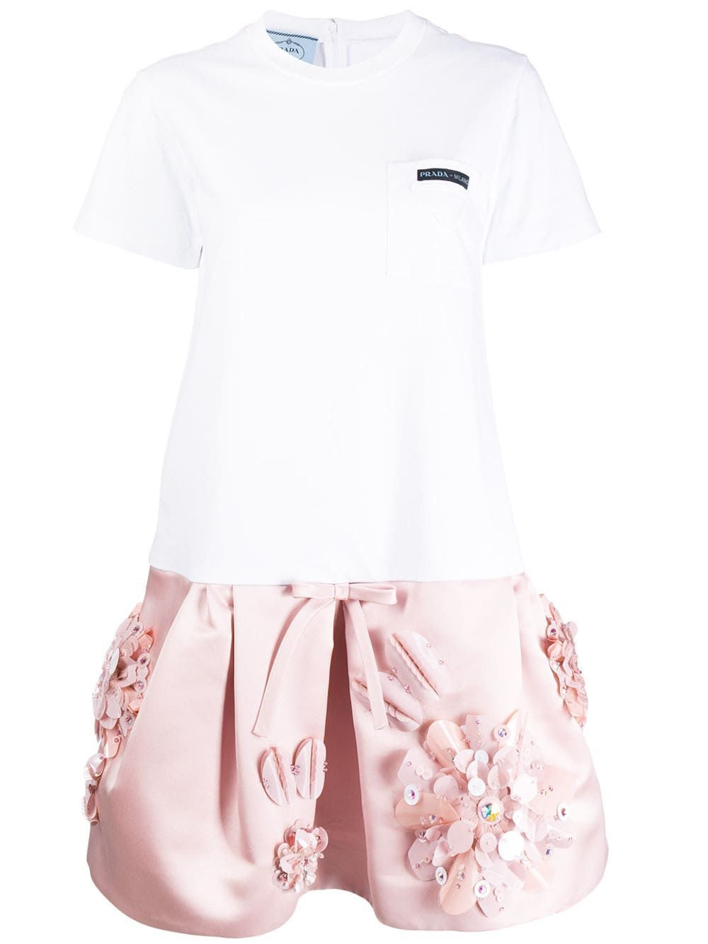 33d915275e78 Prada embellished T-shirt dress - White | Products in 2019 | Dresses ...
