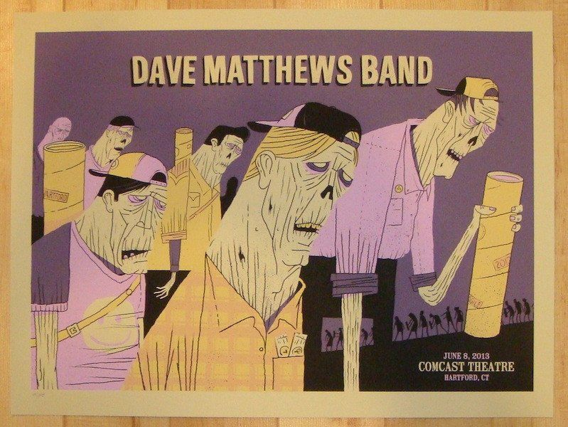 """Dave Matthews Band - silkscreen concert poster (click image for more detail) Artist: Methane Studios Venue: Comcast Theatre Location: Hartford, CT Concert Date: 6/8/2013 Size: 24"""" x 18"""" Edition: 645;"""