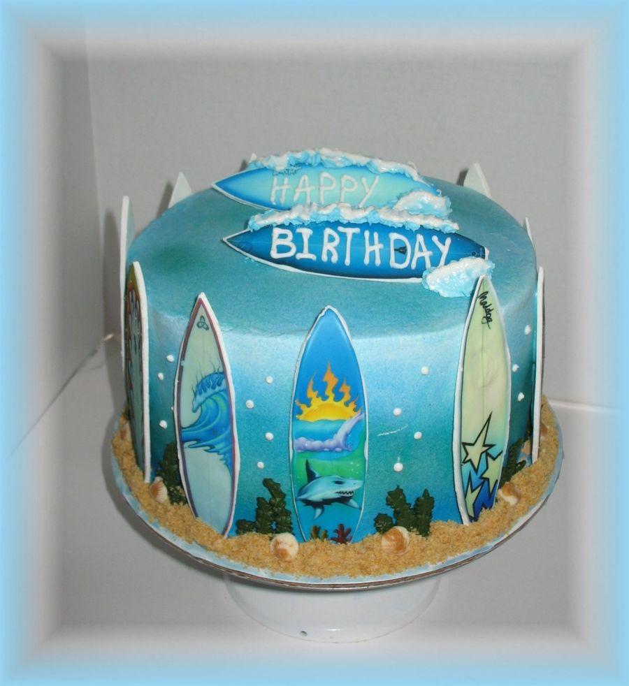 Brilliant Surfboard Birthday Cake Personalised Birthday Cards Petedlily Jamesorg