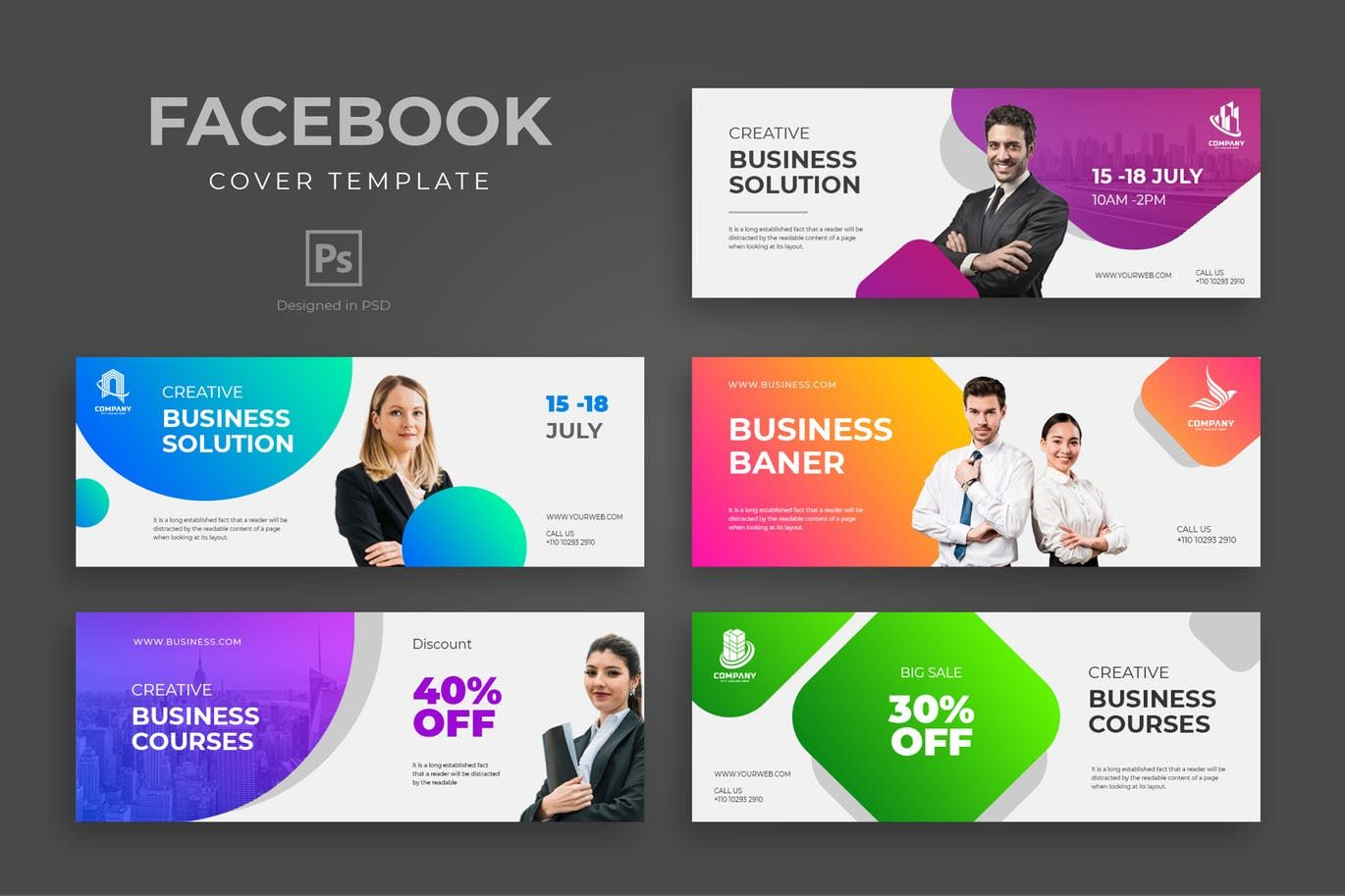 Business Facebook Cover Template By Uicreativenet On Facebook Cover Template Cover Template Facebook Cover Design