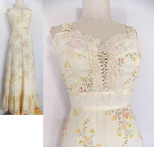 vintage 70s boho maxi dress sz s corset tie floral prairie