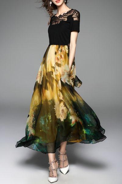 Sweetsmile Yellow/black Floral Splicing Maxi Swing Dress | Maxi Dresses at DEZZAL
