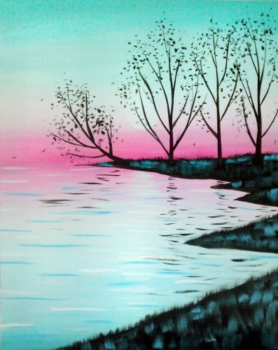 Learn To Paint Autumn Trees On River Bank Beginner Canvas Painting