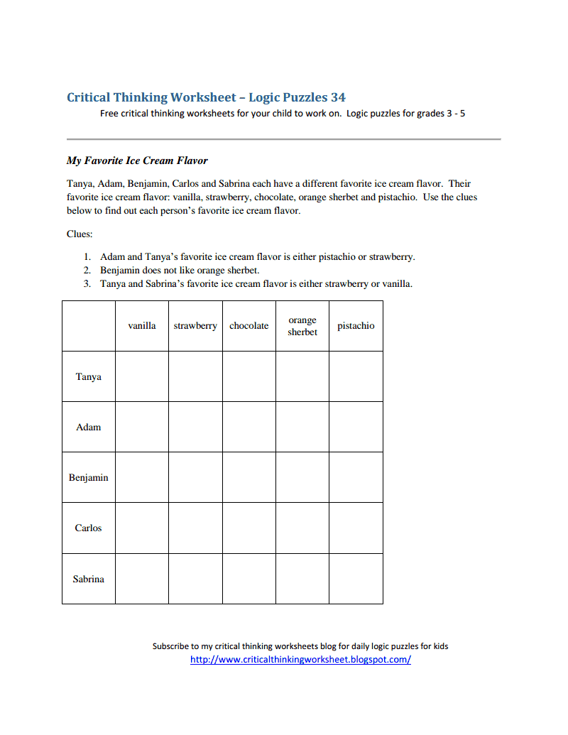 critical thinking worksheet - logic puzzles 34.pdf - logic puzzles ...