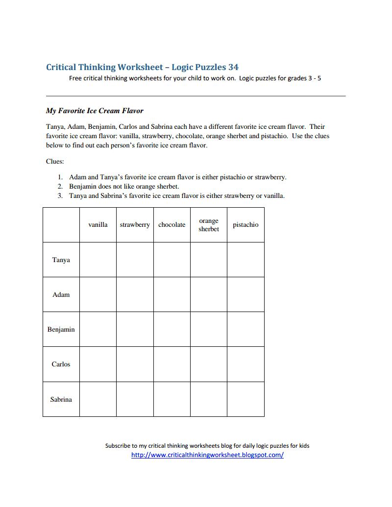 Critical Thinking Worksheet  Logic Puzzles 34pdf  Logic Puzzles 34pdf  Comprehension