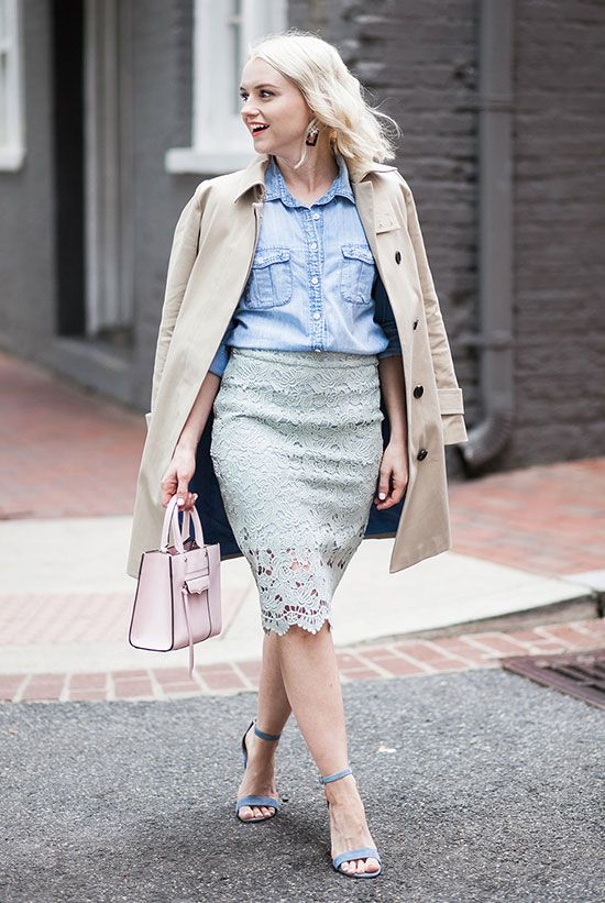 fc1ced19ff6f Chambray Shirt Outfits, Denim Shirt, Blue Sandals Heels, Heeled Sandals,  Trench Coat