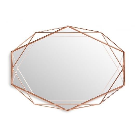 With a three dimensional appearance this umbra prisma wall mirror in copper is a striking and unusual design view it today at hurn and hurn