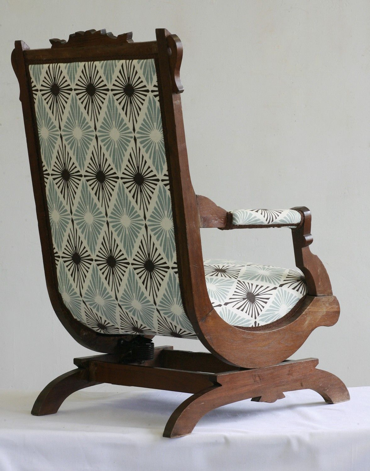 my mom has a rocker just like this, different fabric. Never seen another  like it. Love it. - Antique Victorian Rocking Chair Take A Seat Pinterest Chair