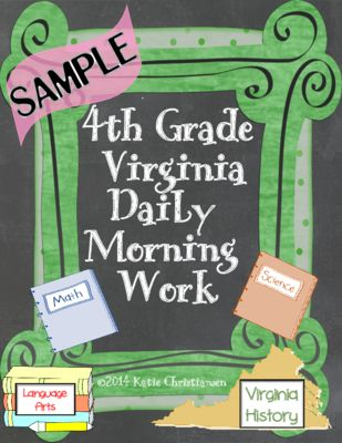 FREE Fourth Grade Daily Morning Work Sample Virginia From