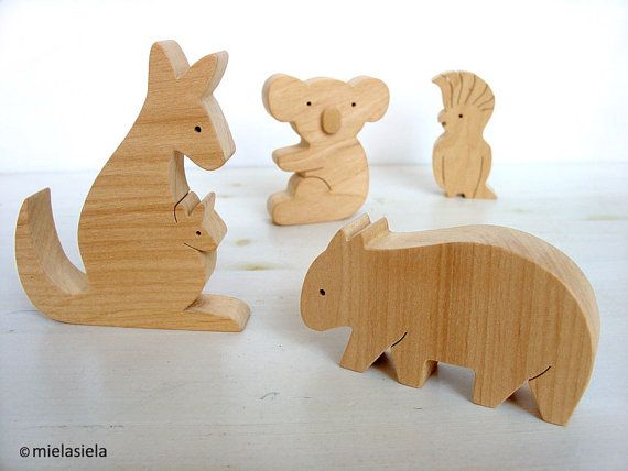 Australian Animals Natural Wooden Toys Set Of 5