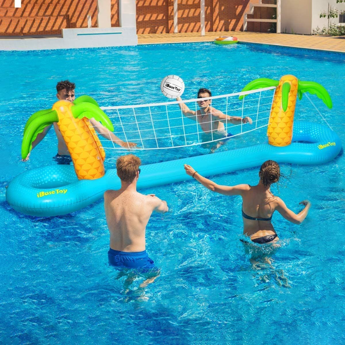Ibasetoy Inflatable Pool Volleyball Game Set With Adjustable Net And 2 Balls Inflatablepool In 2020 Swimming Pool Games Cool Swimming Pools Swimming Pool Toys