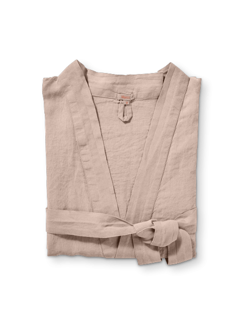 Pink Clay Washed Linen Bathrobe Size 1 In 2020 Linen Bathrobe Washed Linen Linen