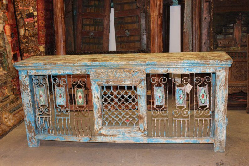 Antique distressed tv console table hand carved iron jali