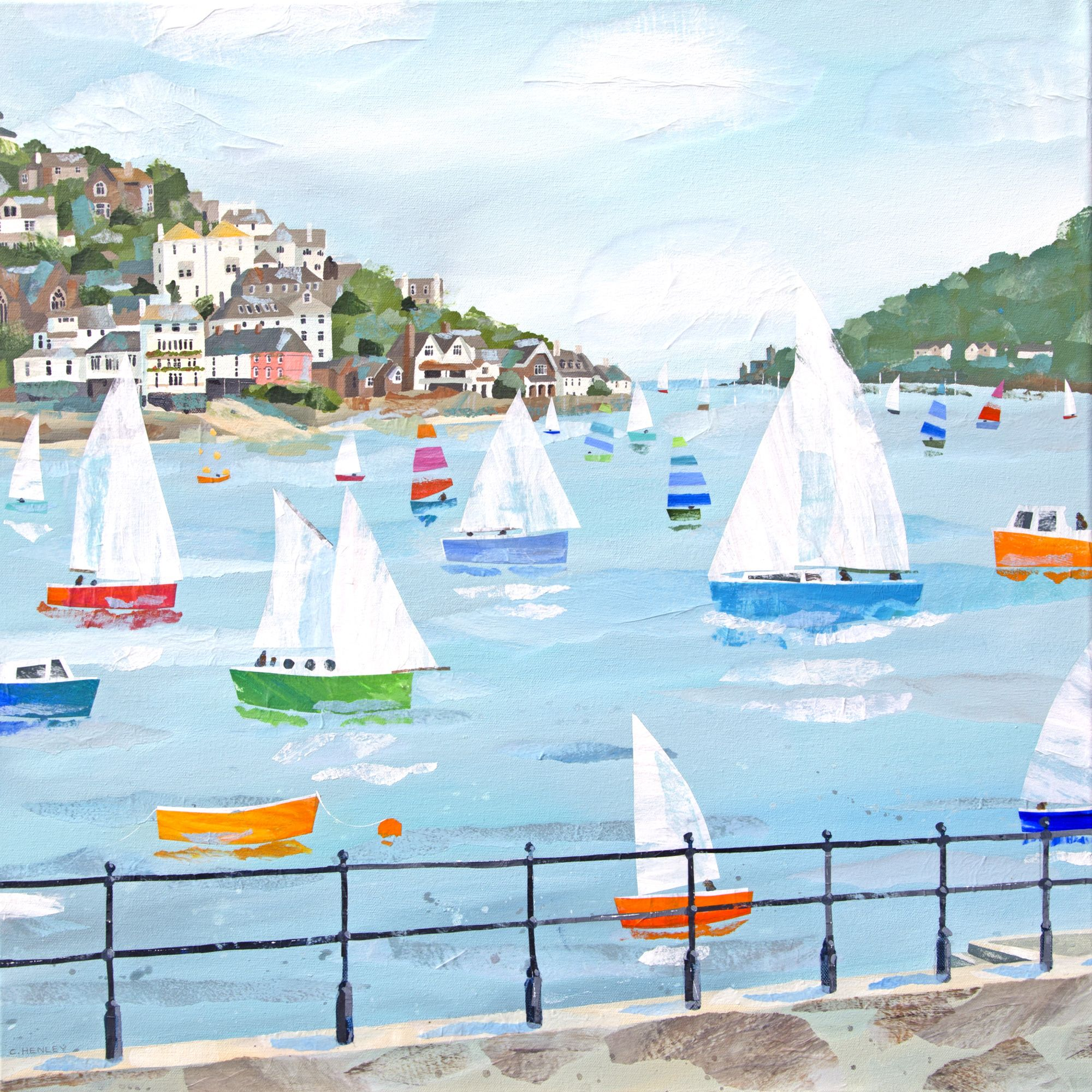 Dartmouth ch51 boats and harbour art print by claire