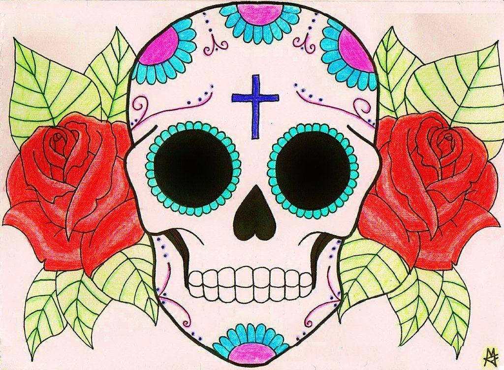 Sugar Skull By Azul80 On Deviantart Sugar Skull Tattoos Skulls Drawing Skull Decal